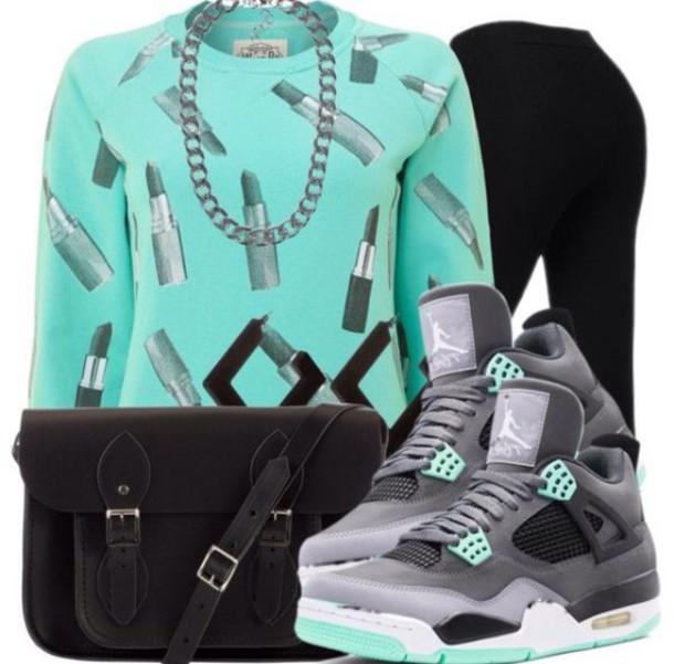 lipstick shirt sweater long sleeves turquoise blue shirt fashion purse jordans leggings bag jewels shoes t-shirt top warm sweater hoodie hip hop