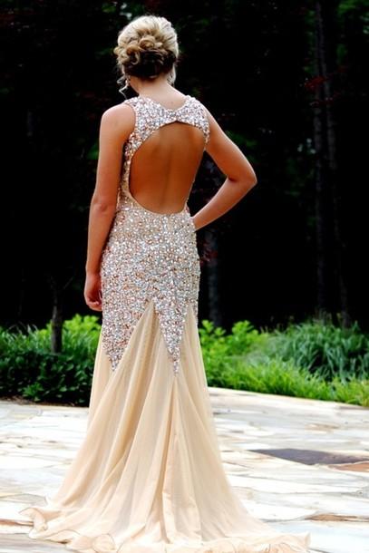dress long prom dress nude sequins tan dress open back prom dress long