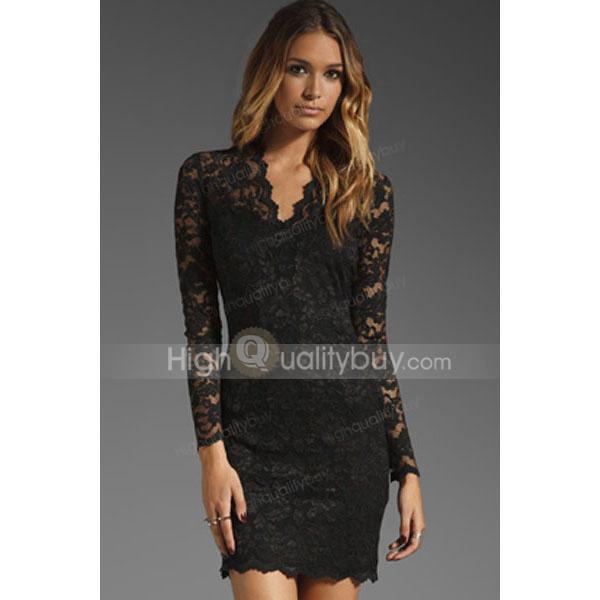 Fashion Lace Polyester Women's Black Club Dress_$17.99