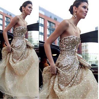 gold sequins dress gown a line prom gowns strapless dress