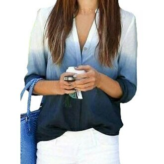 blouse blue white ombre gradient stylish v-neck long sleeve gradient color women's blouse long sleeves trendy cool fashion stylish clothes