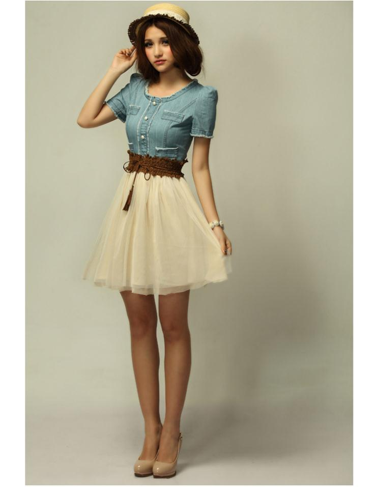 2013 Summer Womenu0026#39;s Vintage Jean Dresses Retro Girl Blue Top White Skirt Denim Mini Party Dress ...