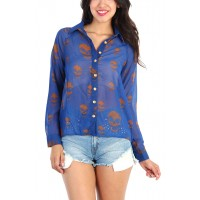 OMG Skull Print Sheer Button Down Shirt - Blue