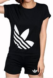 romper,adidas logo,black,black and white,sporstwear,sportsuit,adidas logo t-shirt,adidas tee,adidas t-shirt,black adidas,adidas trefoil,adidas trefoil top,adidas trefoil t-shirt,adidas logo shorts,adidas sporswear,joggers,jogging top,jogging shorts,sweats,sweatpants,black sweatpants,black sweats,trefoil,large trefoil,activewear,fitness,casual,casual women suit,sexy shorts,tumblkr,tumblr,tumblr sports,adidas tumblr,street,streetwear,streetstyle,lookbook,style scrapbook,preppy,preppy sport,mustahve,girly,sexy,cute,sweet,beautiful,cool,moraki,jumpsuit,casual sportsuit,adidas track suit,sportswear