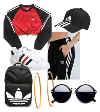 bag red black adidas gold earrings