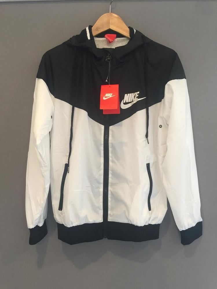 release date: new products innovative design Nike Women Windrunner Black & White Hooded Coat Jacket