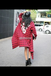 blouse,red and black coat,36,chunky heels,leather,faux leather