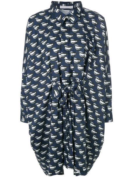 Peter Jensen dress shirt dress oversized shirt dress oversized women spandex cotton print blue lip print