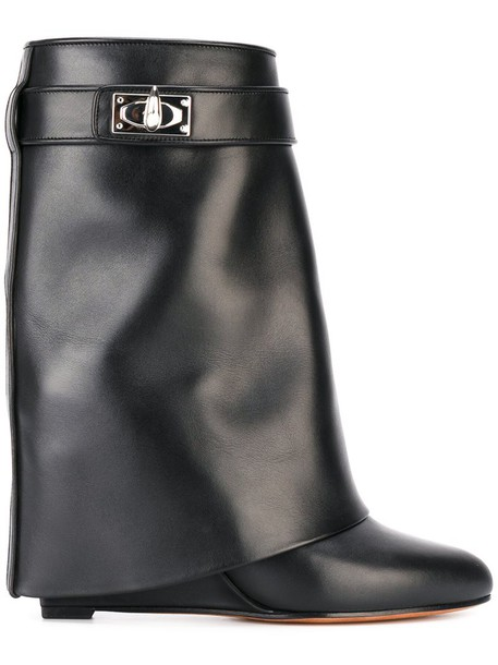 women shark boots leather black shoes