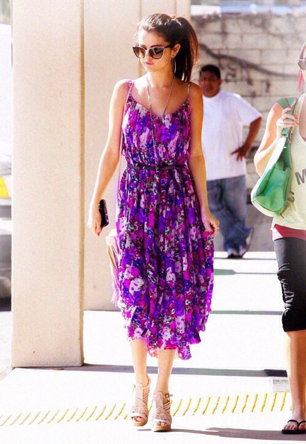 dress selena gomez maxi dress floral sunglasses floral dress