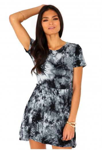 Maxime short sleeve tie dye skater dress in grey