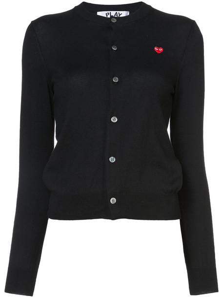 Comme Des Garçons Play - heart patch cardigan - women - Cotton - S, Black, Cotton