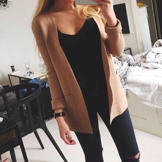 cardigan pocket black top beige classy beige jacket striped pants watch gold black watch