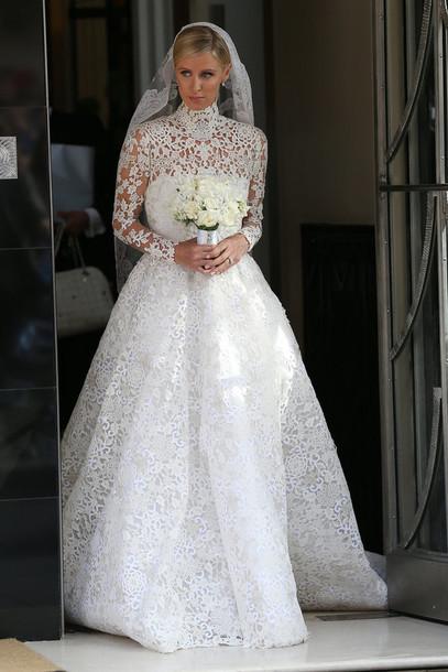 dress gown wedding wedding dress nicky hilton white dress white lace dress white lace bridal gown lace