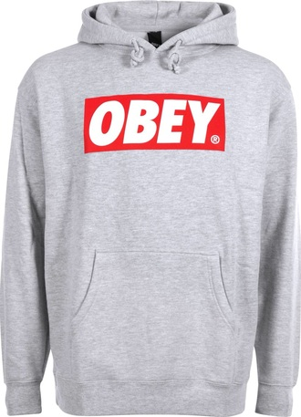 sweater hoodie obey gray hoodie