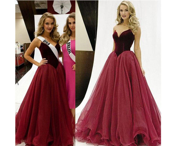 dress, long prom dress, dark red prom dress, tulle prom ...