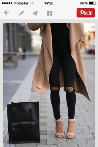 coat camel coat beige jacket bag shoes pants