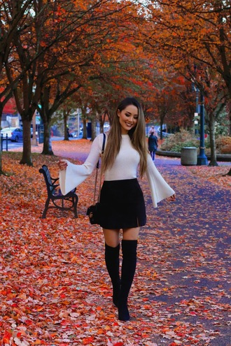 jessica r. hapa time - a california fashion blog by jessica blogger top skirt shoes bag fall outfits bell sleeves boots thigh high boots over the knee boots mini skirt
