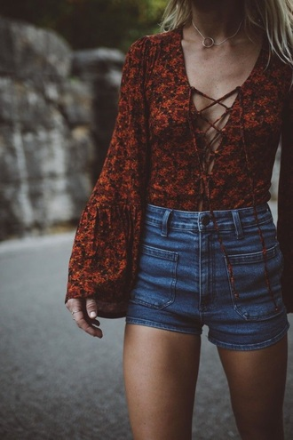 top red floral indie hipster beach hippie blonde hair shorts denim shorts sexy