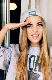 hat,blond,skills,sweater,beanie,grey,blue,girl,pink,blonde hair,pretty,grey hat,hipster,logo,headwear,Accessory,accessories,hair accessory
