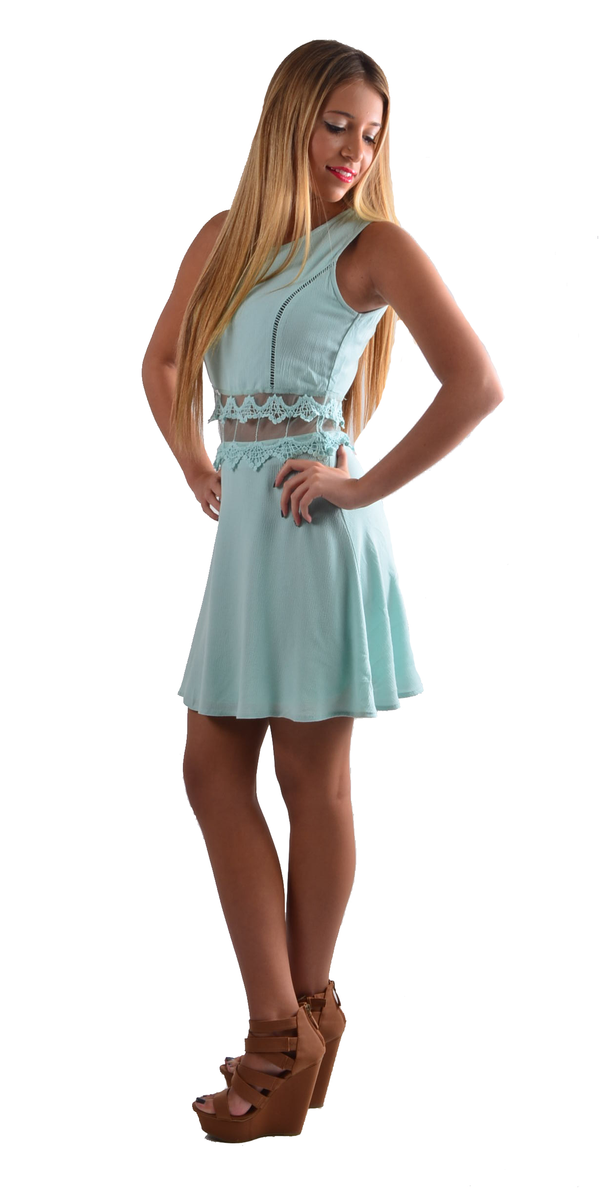 Blue Day Dress - Mint Sleeveless Peek-a-Boo Mini Dress | UsTrendy