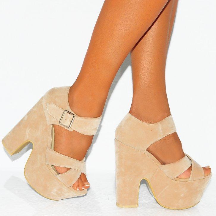 Nude faux suede chunky wedge peep toe platform high heels