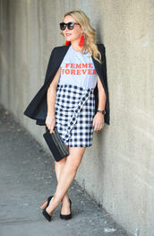 t-shirt,slogan tee,skirt,mini skirt,gingham skirt,wrap skirt,ruffle hem skirt,blazer,clutch,pumps,tassel earrings,blogger,blogger style