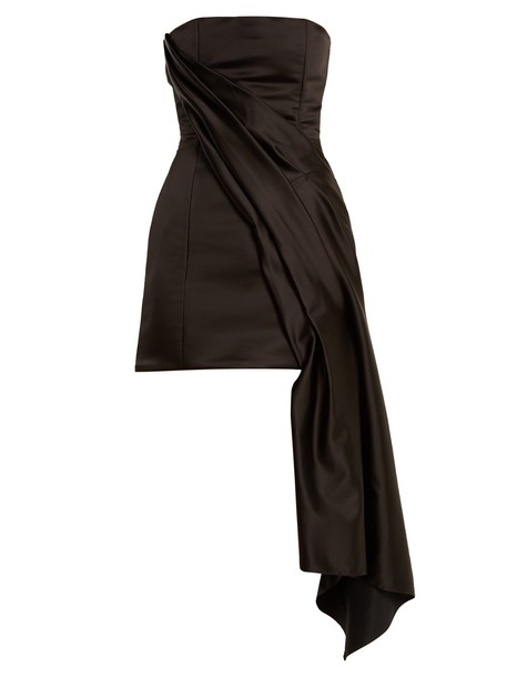 HALPERN dress bustier dress draped satin black