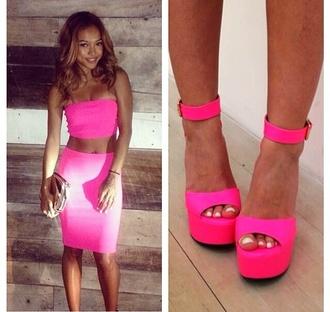 shoes pink high heels pink heels neon pink high heels pink dress pink top    tank top pink skirt shirt skirt
