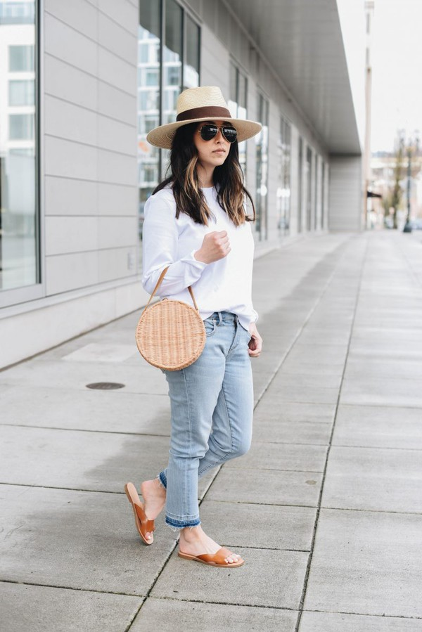 hat hat straw hat top white top jeans denim shoes bag floppy straw hat hair accessory