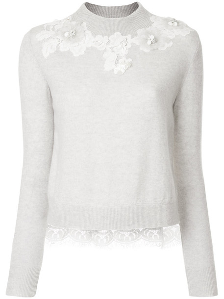 Onefifteen sweater women lace floral grey
