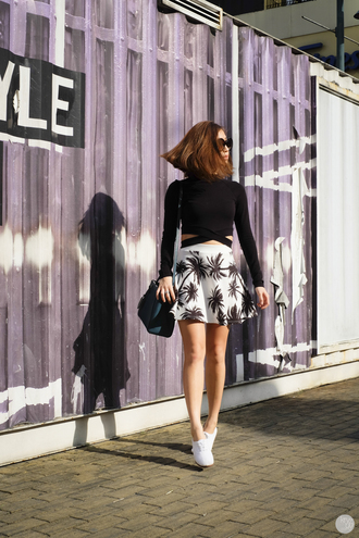kryzuy blogger palm tree print cropped sweater skater skirt top skirt shoes bag sunglasses