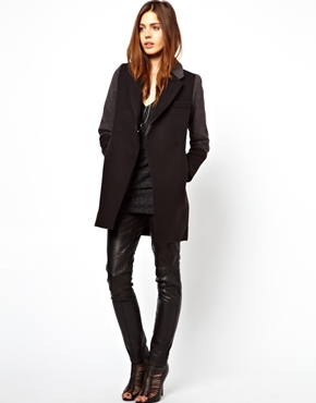 ASOS Petite | ASOS PETITE Exclusive Coat With Contrast Collar at ASOS