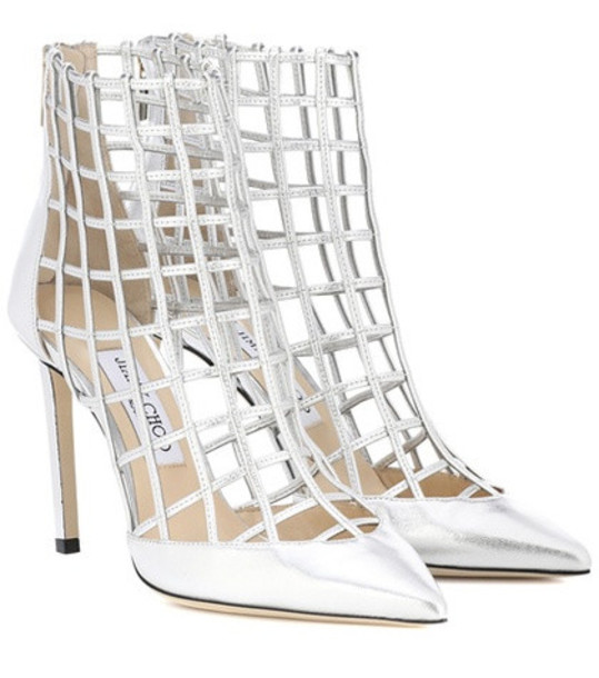 Jimmy Choo Sheldon 100 leather ankle boots in silver