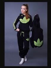 pants,adidas,adidas tracksuit,jacket,fluro green,black,hoodie,tracksuit,neon adidas tracksuit,home accessory,baby room,boho