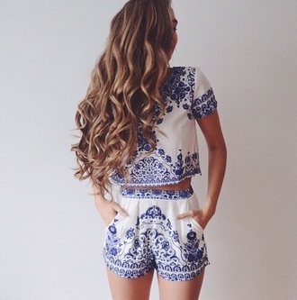 shorts blue white shirt ornament set hairstyles two piece dress set