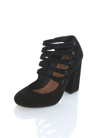 Peggy black suede multi strap**