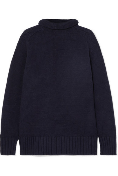Joseph - Sloppy Joe Cotton-blend Turtleneck Sweater - Midnight blue