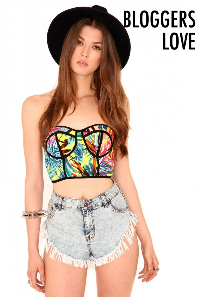 Jayden tropical print bralet with mesh back