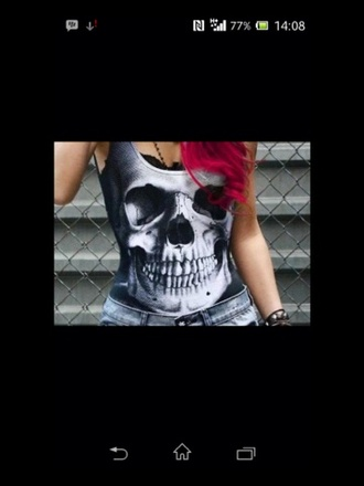 tank top skull skull t-shirt grey high short