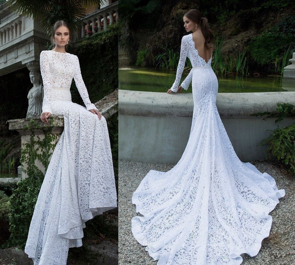 Aliexpress.com : buy vestido de noiva mermaid lace long sleeve white wedding dresses 2015 new romantic fashionable mermaid bridal gowns cheap khjk from reliable gown dress suppliers on alva wedding dresses factory