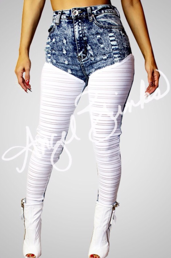 white dress acid wash ripped jeans