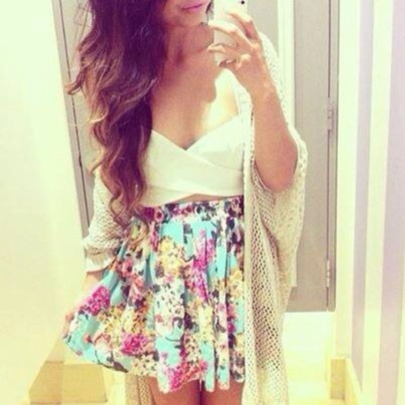 floral sundress skirt mini skirt green multicolored glam sun party night classy style bralette bustier top blouse