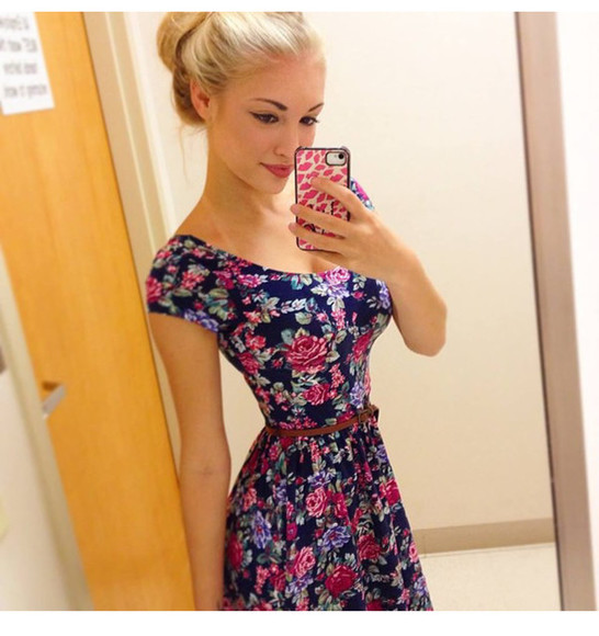 Belt floral dress cute dress