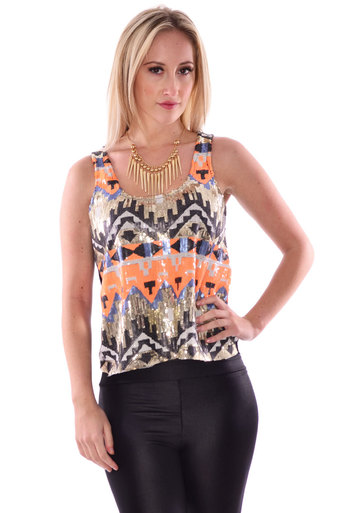 Womens Ffion Sequin Aztec Multi Color Sleeveless Top