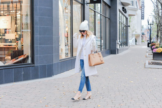 ohsoglam blogger coat jeans shoes hat gloves bag sunglasses handbag nude bag mid heel pumps beanie