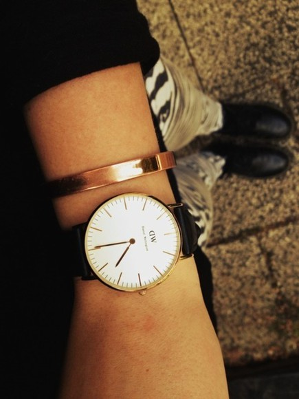 gold jewels bangle bracelets watch dw daniel wellington rose gold
