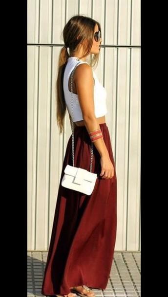 skirt maxi skirt maxi dress crop tops fashion tumblr