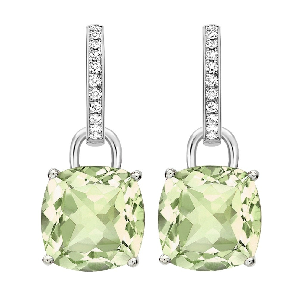 Kiki mcdonough kiki classic green amethyst and diamond cushion drop earrings