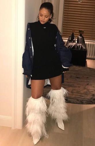 dress mini dress little black dress black dress black boots white boots rihanna instagram feathers